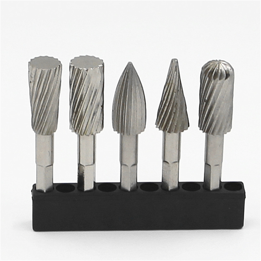 5pcs 1/4'' hex  Shank HSS Steel Rotary burrs Cutter Engraving Grinding Bit For Rotary file cutter Tools woodworking DIY free shipping of 1pc hss 6542 made cnc full grinded hss taper shank twist drill bit 11 175mm for steel