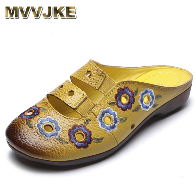 df3cc48fc MVVJKE Summer Women Slippers Embroidery Cut-Outs Genuine Leather Women  Sandals Slides Flat Comfortable Shoes WomanE105