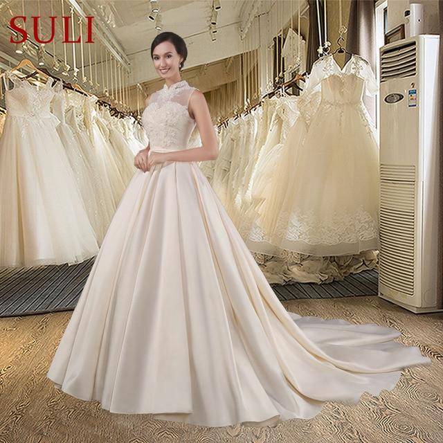 cde2ca165b SL029 elegancki szampana-line suknia ślubna romantyczna aplikacje z  koralików wysokiej szyi księżniczka klasyczna suknia