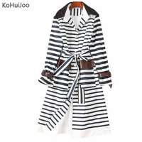 KoHuiJoo Long Stripe Trench Coat Women 2019 Fashion Runway Coats 2019 Women High Quality Streetwear Vintage Casual Coat Outwear
