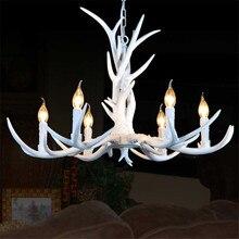Europischen Vintage Amerikanische Land Weiss Resin Hirschgeweih Hngen Lampe Pendelleuchte Droplight Wohnzimmer Leuchte 6 Kopf