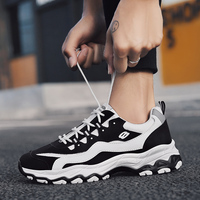 Men's Casual Shoes Chunky Sneakers Dad Shoes Men Winter Black High Platform Trainers Sneakers Men Luxury Brand Black White Fur
