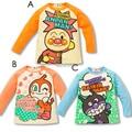 Otoño Niños ropa Anpanman camisas superiores de la muchacha del muchacho de la Capa Con Capucha T-shirt Anpanman Soreike Llena Larga Mangas trajes 2-6Y