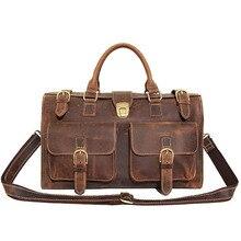 News Crazy Horse perfectly natural cow leather men's briefcase bag laptop bag for men handbag purse Travel Bags hot sale