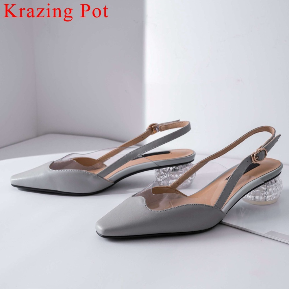 Krazing Pot cow leather classic square toe buckle strap slingback pretty girls crystal med heels jelly