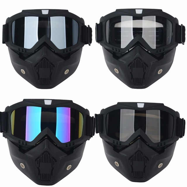 Mayitr Motorcycle Bike Detachable Modular Dust Mask Riding Helmet Goggles Shield Face Mask Universal For Cafe Racer Open Face