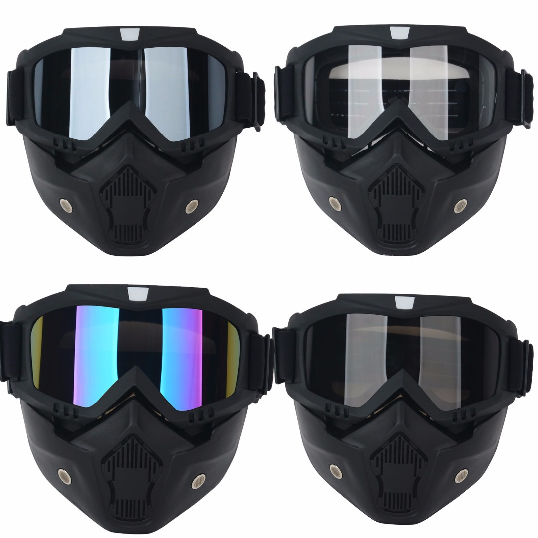 Mayitr Motorcycle Bike Detachable Modular Dust Mask Riding <font><b>Helmet</b></font> Goggles Shield <font><b>Face</b></font> Mask Universal For Cafe Racer Open <font><b>Face</b></font>