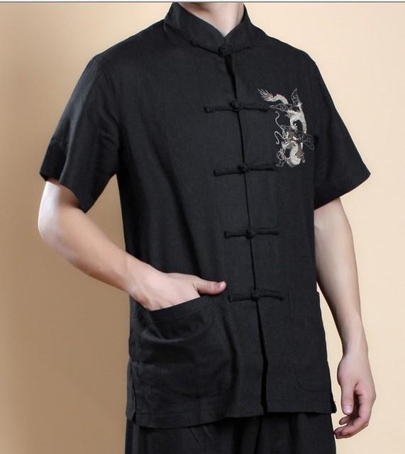 Preto Chinês Wing Chun Kung Fu Top Camisa de Linho dos homens camisa-manga curta bordado camisa s m l xl xxl xxxl MS012