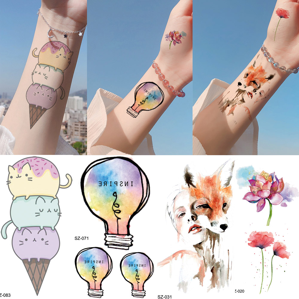 Colorful Lovely Cartoon Kids Tattoo Stickers Fake Children Galaxy Bulb Ice Cream Cats Temporary Tattoo Cute Xmas Gifts Tatoos