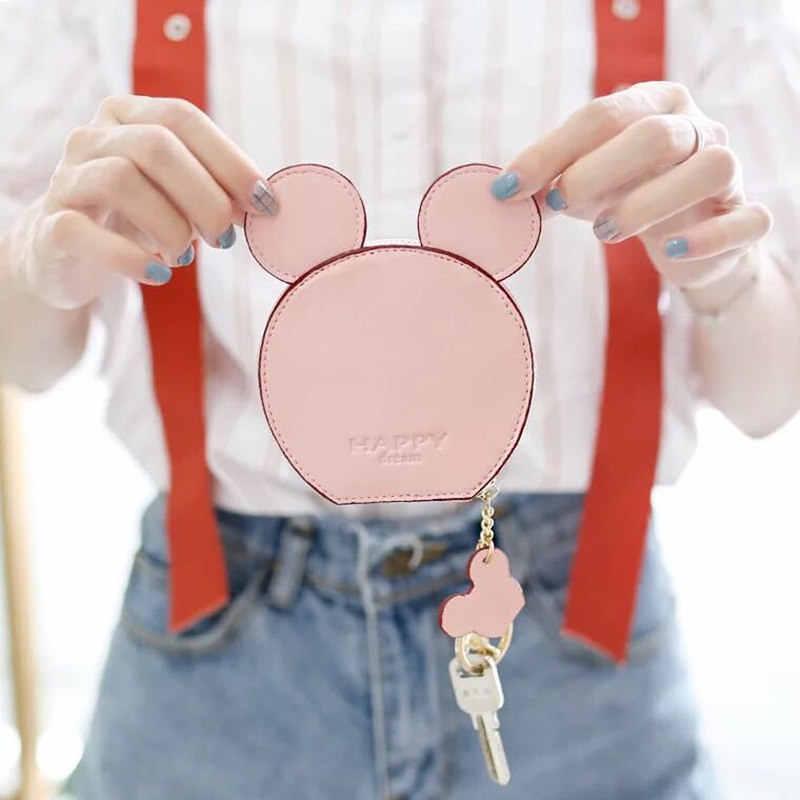 Продажи нового дизайна Микки голова кошельки женские кошельки небольшой стильная футболка с изображением персонажей видеоигр kawaii держатель для карт цепочка для ключей Деньги сумки для девочек верхняя одежда