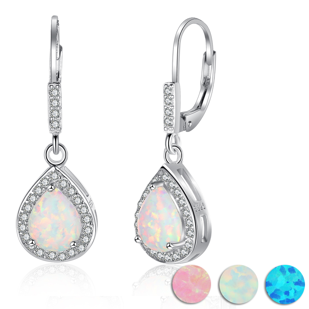 925 Sterling Silver White Fire Opal Water Drop Shape Dangle Earrings For Women Fashion Drop Earrings Gift for Her (EA103015) pair of stylish faux turquoise crescent shape drop earrings for women