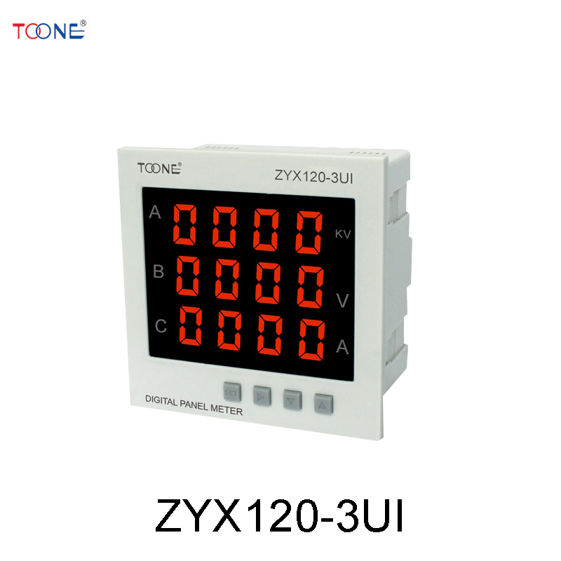 Three - phase AC digital display of intelligent current and voltage combination table ZYX120-3UI / SX120 * 120AV three phase ac digital display intelligent current and voltage table zyx96 3ui two in one power meter