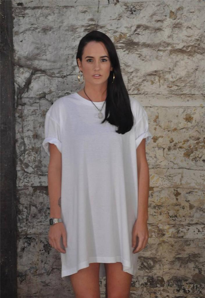 Casual Loose White Tshirt Dress Over Size Maxi Plus Size Black T
