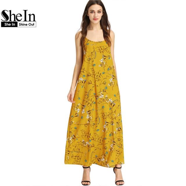 Shein двойной совок cami ремешок ботанический dress summer beach длинные dress boho стиль maxi dress женщины богема dress