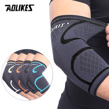AOLIKES 1PCS Elbow Support Elastic Gym Sport Elbow Protective Pad Absorb Sweat Sport Basketball Arm Sleeve Elbow Brace(China)