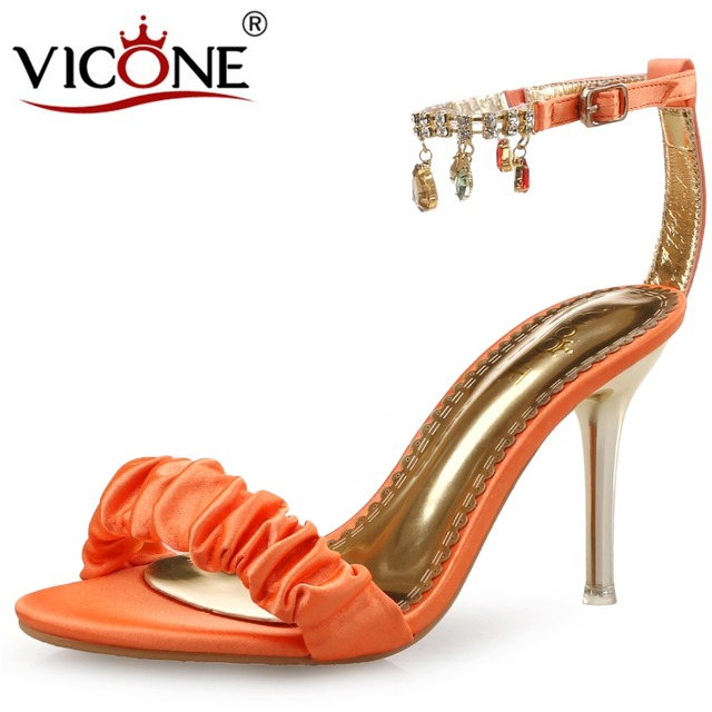big discount best seller sale online VICONE Women Summer Silk Crystal Pointed Toe Casual Sweet Fashion Heels finishline sale online reliable cheap online cheap sale ebay HwOT6iEqWo