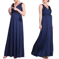 2 Style V Neck Long Maternity Dress For Pregnant Women Sexy Elegant Maxi Maternity Gown Nursing