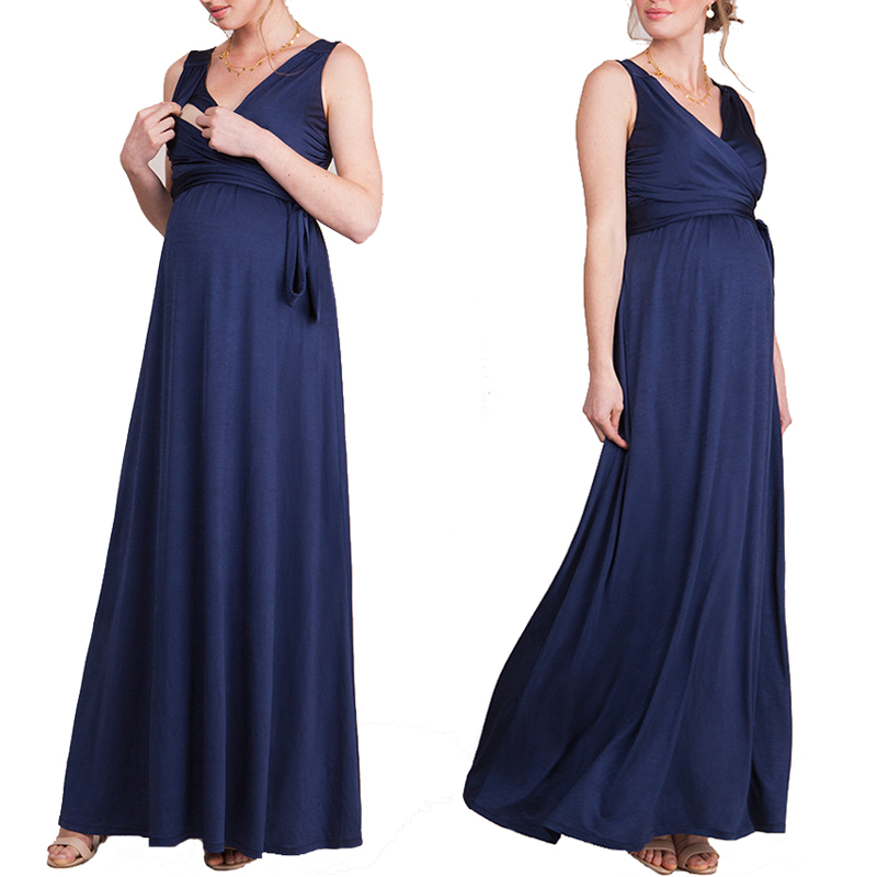2 Style V-Neck Long Maternity Formal Dress for Pregnant Women Sexy Elegant Maxi Maternity Gown Nursing Pregnancy Clothes Vestido sexy style jewel neck backless solid color long sleeve dress for women