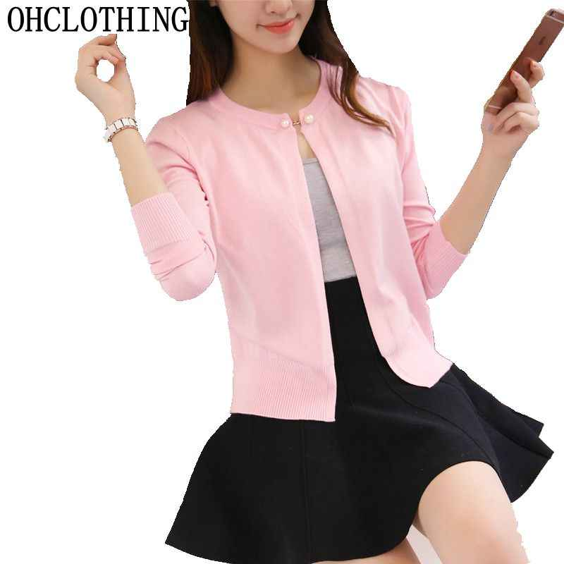 OHCLOTHING Newest Knitted Cardigan Women 2017 Spring Autumn Long Sleeve Women Sweater Cardigan Female Single Button Pull Femme