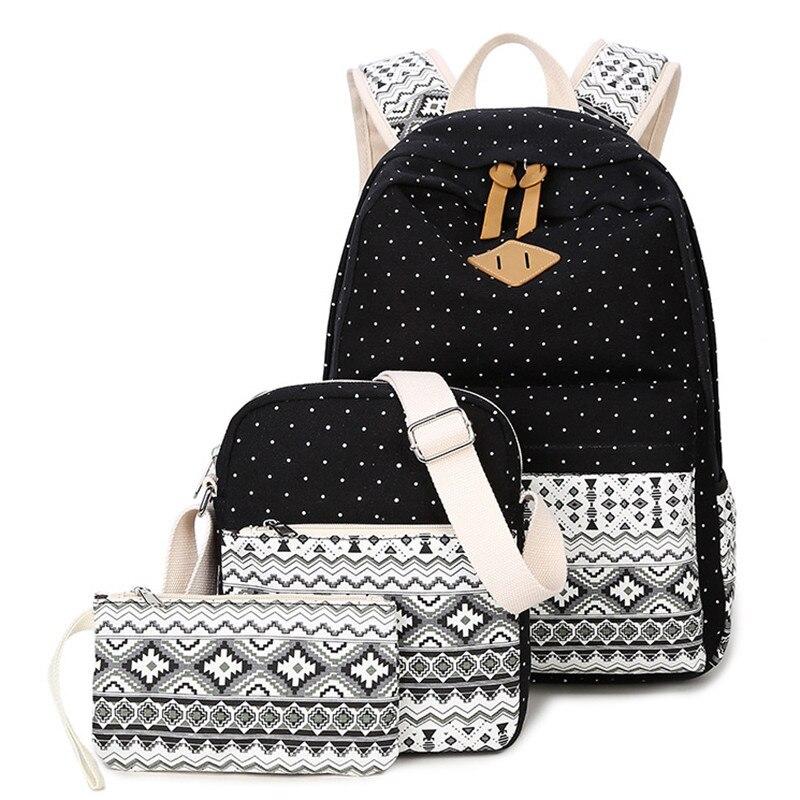 RUIPAI 3pcs/sets School Bag Student Backpack Girls Canvas Pack Wave Point College Wind Shoulder Bag Practical Schoolbag