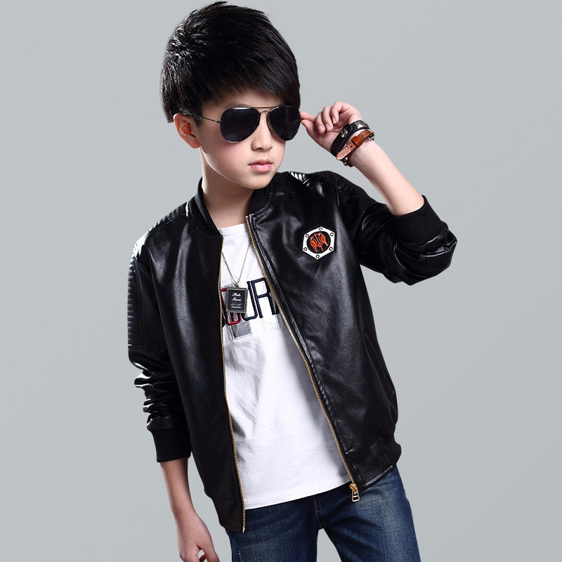 cafb16dac2ab Teenage Boys Bomber PU Leather Jacket Brand New Year Kids Leather Jacket  Big Boys Outerwear Children Casual Clothing