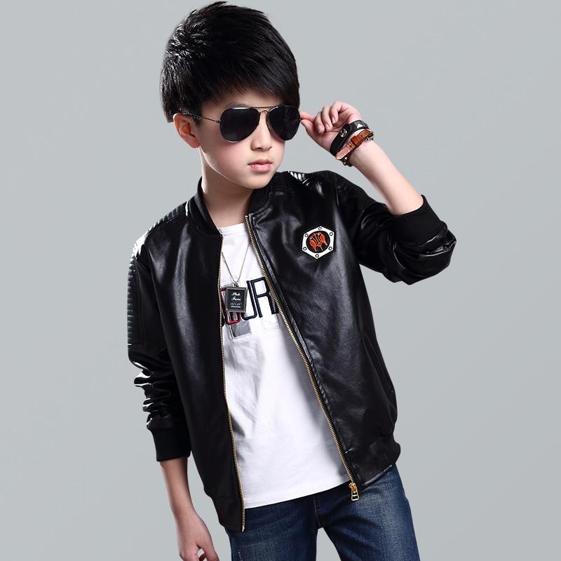 Teenage Boys Bomber Pu Leather Jacket Brand New Year Kids Leather