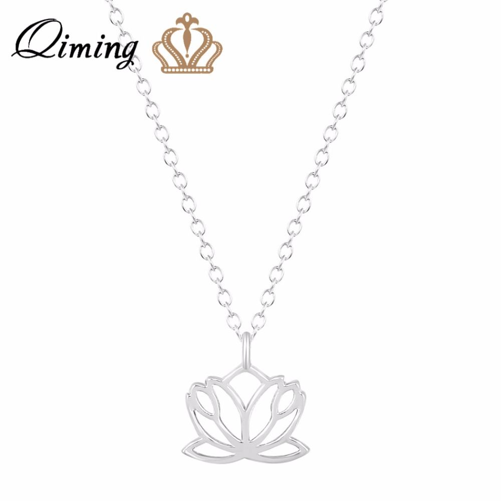 Online get cheap flower girl glass aliexpress alibaba group qiming 2017 unique beautiful flower boho chic sweet lotus necklace chain neclace buddhist pendant necklaces for women girls gift dhlflorist Image collections