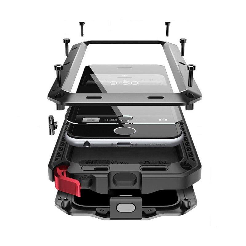 Pour iphone 6 cas Antichoc Heavy Duty armure extérieure cas pour iphone 7 6s 8 plus 5 5S se couverture Coque en métal + 9 H En Verre Trempé