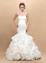 Cheap Mermaid Wedding Gown 2016 Floor Length Backless Ruffle Organza Bride Dresses Plus Size Custom Made