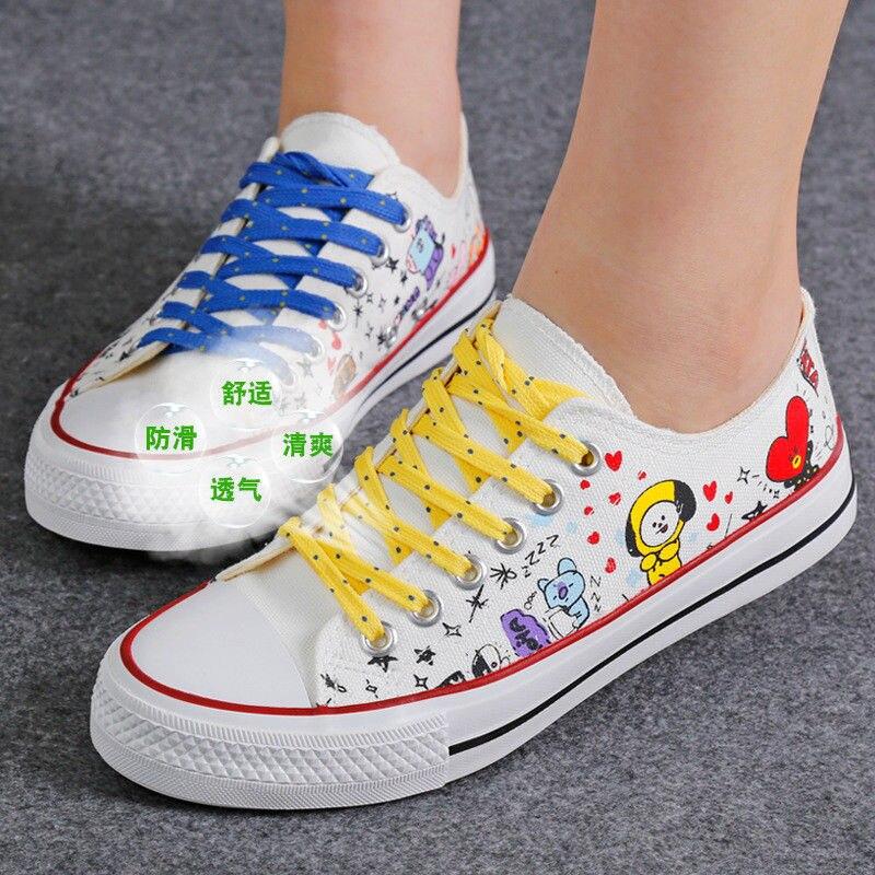 Kpop BTS BT21 Bangtan Boys Canvas Low Tops Shoes Women Girls Casual Shoes Plus Size -in Women's ...