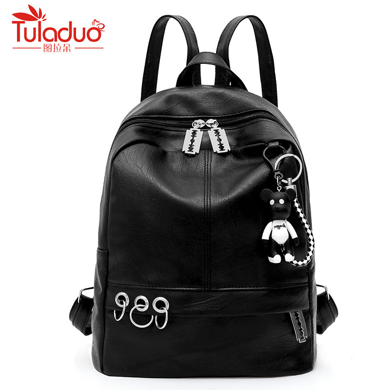New 2018 Pu Leather Backpack Women Bag Female School Bag Bear Pendant Casual Travel Bag Fashion Black Backpack Daypacks Mochila 2018 new casual girls backpack pu leather 8 colors fashion women backpack school travel bag with bear doll for teenagers girls page 7