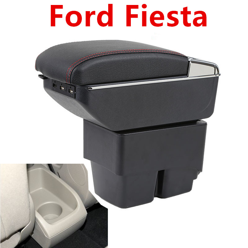 Center Console Storage Box Leather Dual Layer 2009-2017 Armrest Arm Rest For Ford Fiesta 2010 2011 2012 2013 2014 2015 2016