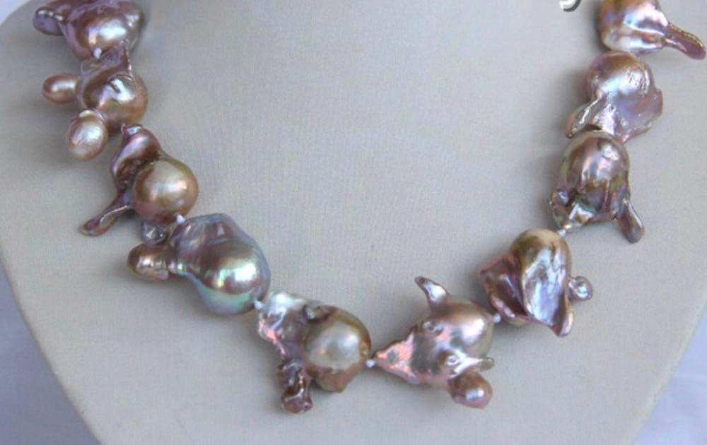 Барокко фиолетовый Кеши REBORN пресной воды Жемчужное ожерелье серьги подарок