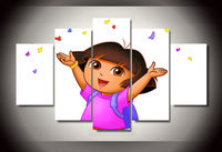 Kunst Abstrakte Innendekor 20x35cmx2, 20x45cmx2, 20x55 cm E 2 Dora The explorer druck leinwand dekoration 5 stücke