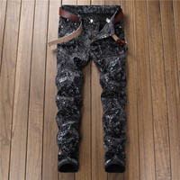 British style fashions skinny jeans men streetwear clothes print black jean homme slim fit denim trousers man trousers masculina