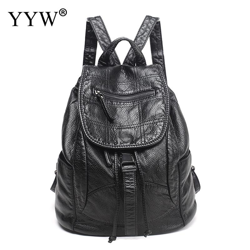 YYW PU Leather Backpack Women Men Casual Black Large Capacity Travel Bags for Teenager Girl Schoolbags Shoulder Bag New shein letter color block satchel large backpack multicolor women casual bags youth shoulder bag schoolbags for teenager