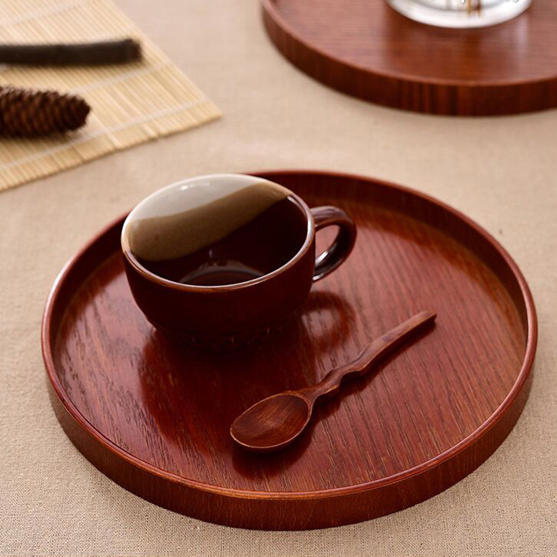 High quality Round wood plates dishes Food Fruit Tea Handmade Cake Dinner wooden Plate For Sushi