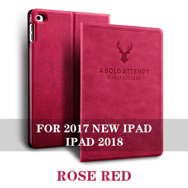 Rose Red 5 colos iPad 9.7 inch smart case with stand and 3d deer pattern for iPad 2017, 2018