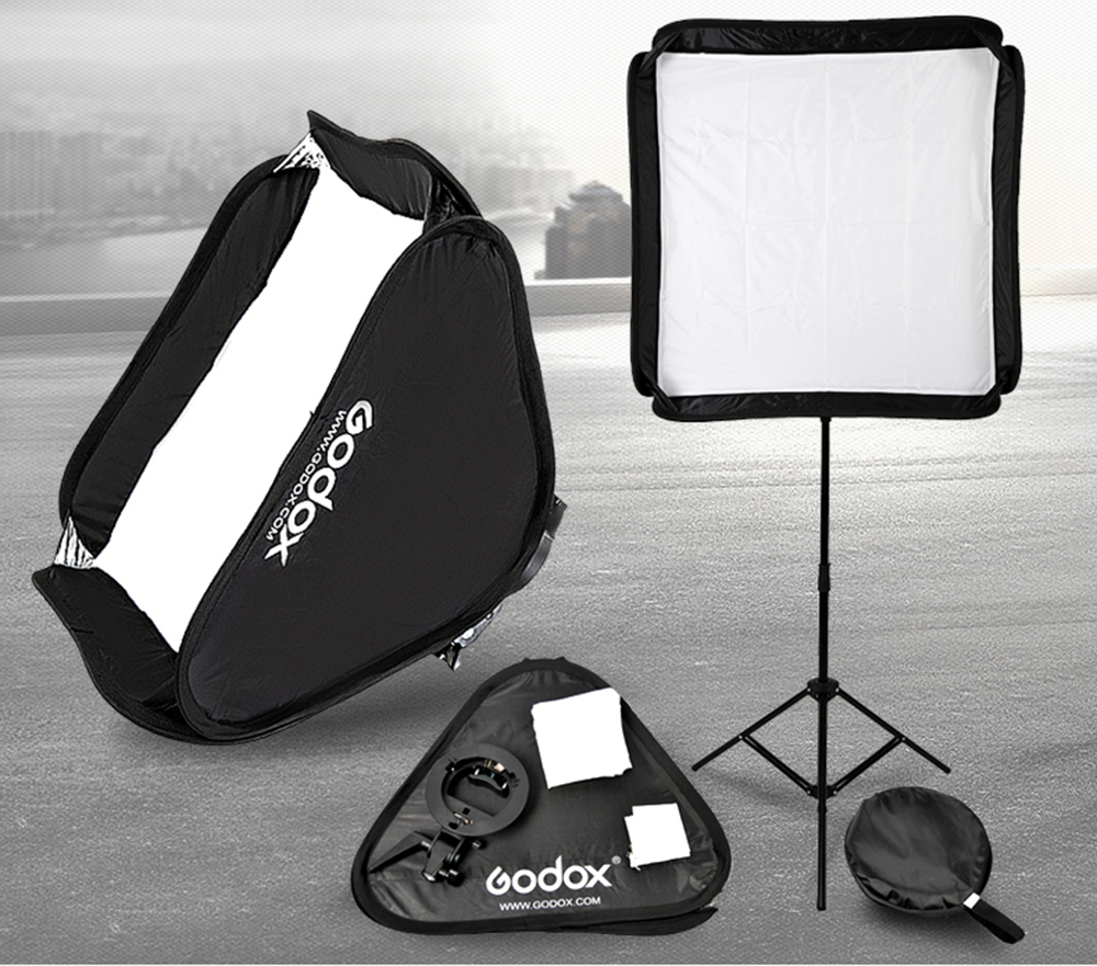Godox Flash Softbox Kit 80cm * 80cm / 60cm*60cm / 40cm * 40cm + S type Bracket Mount Kit for Flash Speedlite Studio Shooting
