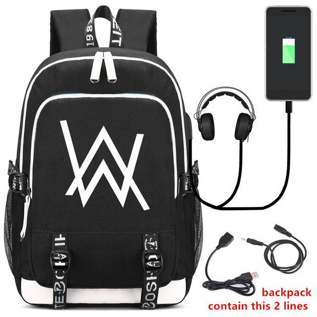 fe1619b2bd7a DJ Alan Walker Backpack School Bag USB Charging Laptop Backpacks For  Teenager Male Mochila Leisure Travel
