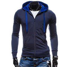 2019 Mens Hoodies Hit Color Zipper Sweatshirt Hooded Hoodie Fashion Jacket Male Casual Cotton  Coat XXL SLWQI