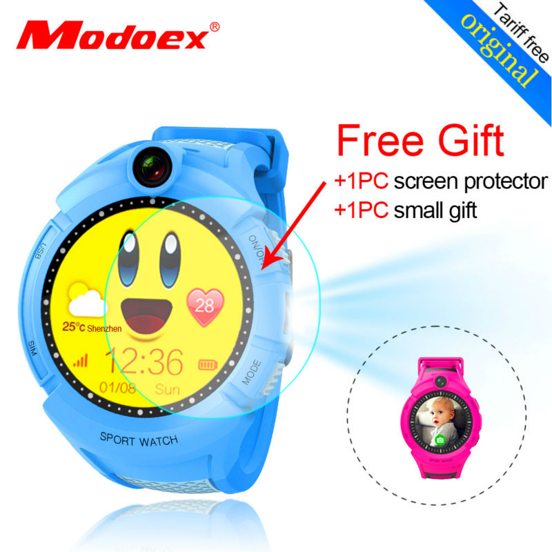 ФОТО Lovely pink blue kids ios android smart watch baby sos watch camera LED flashlight Children sim card round sports watch