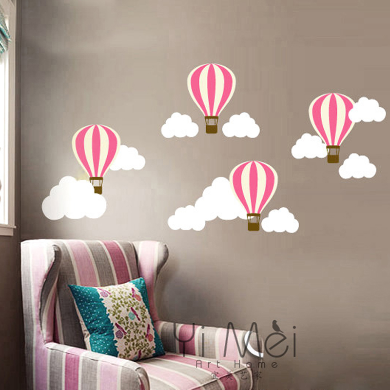 hot air balloon decor cloud wall sticker mural decal wallpaper nursery children baby decoration. Black Bedroom Furniture Sets. Home Design Ideas