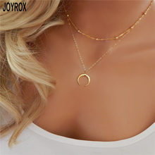 JOYROX 2017 New Vintage Bohemia Moon Pendant Chokers Necklace Fashion silver Gold Crescent Chains For Women Gifts