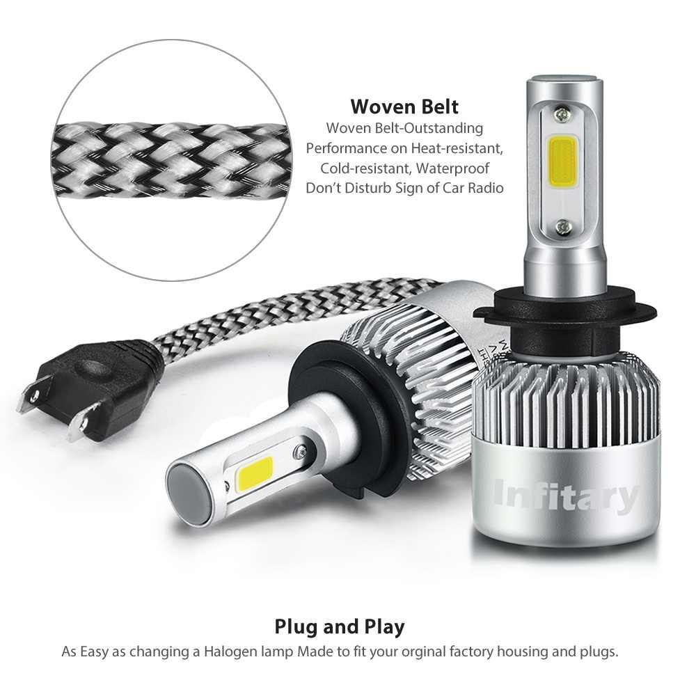 Car Headlight H4 LED H7 H11 H1 H13 H3 880 9004 9005 9006 9007 COB Bulb Hi-Lo Beam 72W 8000LM 6500K Auto Headlamp 12V fog light