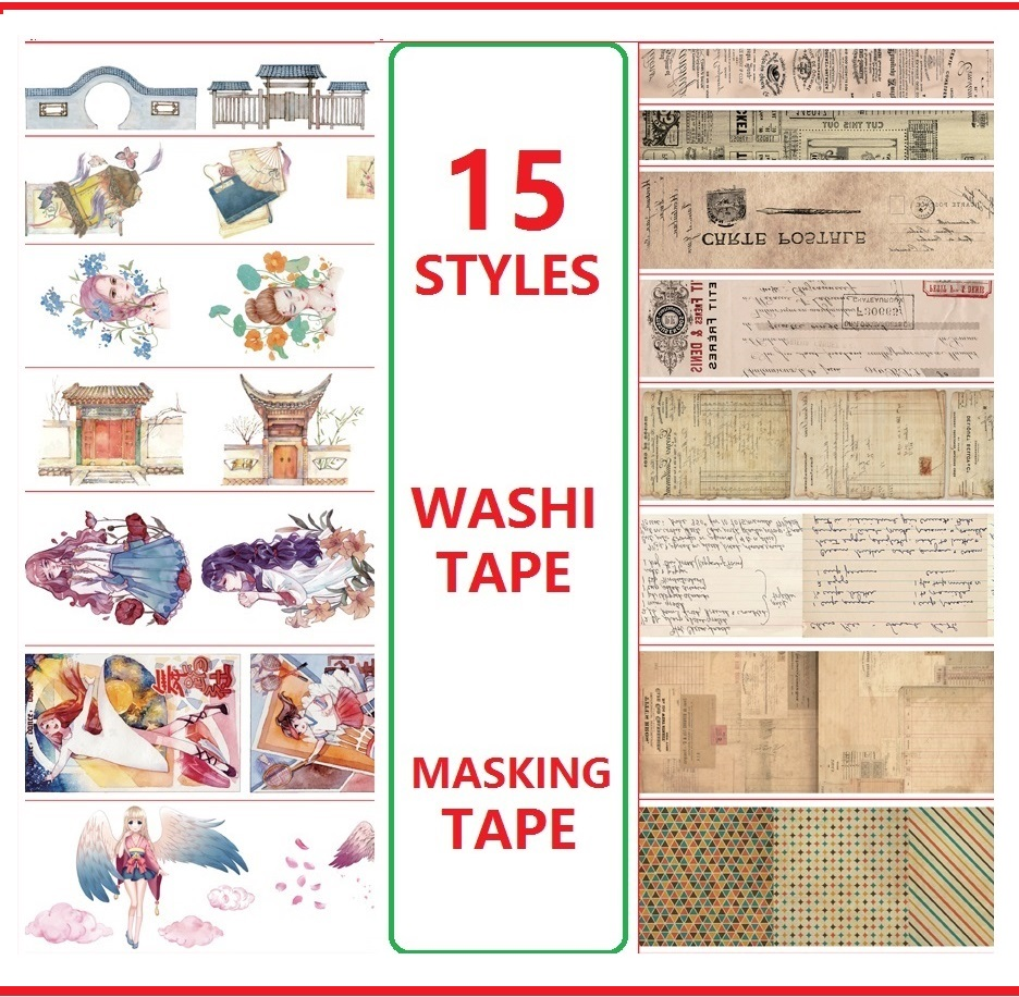 15 Styles Free Shipping Angels/Stamp/Letter/Girls/Door Japanese Washi Decorative Adhesive DIY Masking Paper Tape Sticker Label