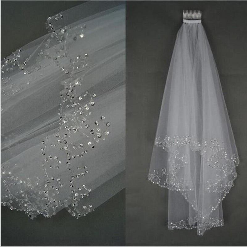 White Ivory Woman Bridal Veils 2018 Wedding Veils 2 Layers 75 CM Handmade Beaded Edge With Comb Wedding Accessories