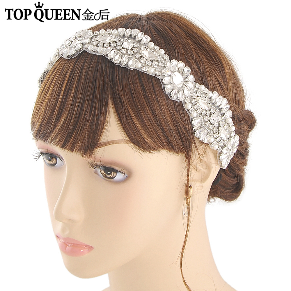 TOPQUEEN H237 Hot Sales Bridal Headbands Wide Wedding Hair Accessories With Rhinestone Bridal Headpieces Fast Shipping Stock