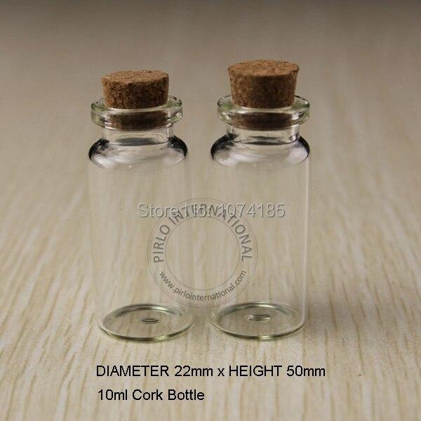 50 unids 10 ml pequeas botellas de vidrio frascos viales con tapones de corcho tapn de