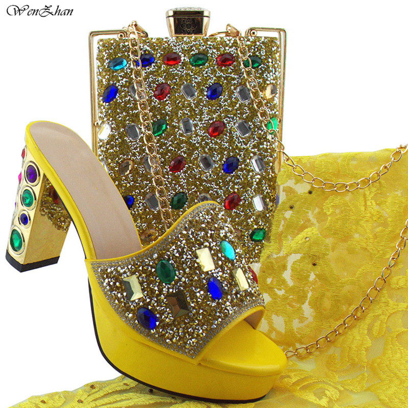 2018Fashion Italian Shoes With Matching Bags Yellow Comfortable High Heel Women Shoes and Bag Set For Party Size 38-43 B85-15 aidocrystal luxury handmade crystal sunflower high heel women italian shoes with matching bags
